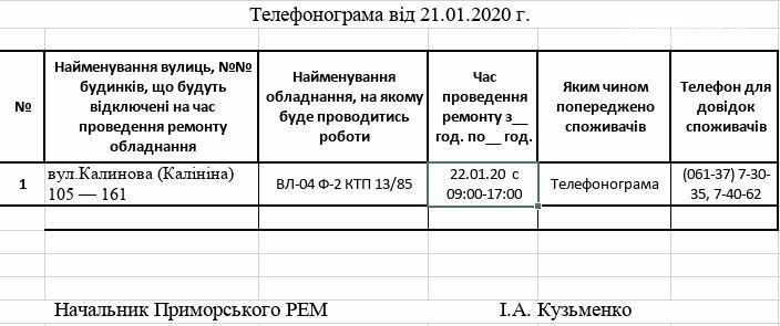 Увага! Сьогодні 22.01, у Приморську планові відключення електропостачання, фото-1