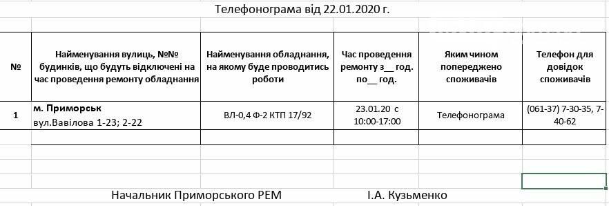 Увага! Сьогодні 23.01, у Приморську планові відключення електропостачання, фото-1