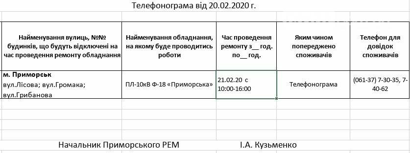 Увага!Сьогодні 21.02  на деяких вулицях Приморська буде відсутнє електропостачання, фото-1