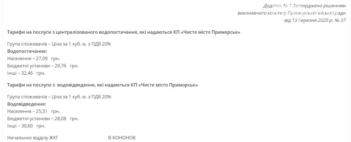 """КП """"Чите місто Приморськ"""" підвищує тарифи на водопостачання та водовідведення, фото-1"""