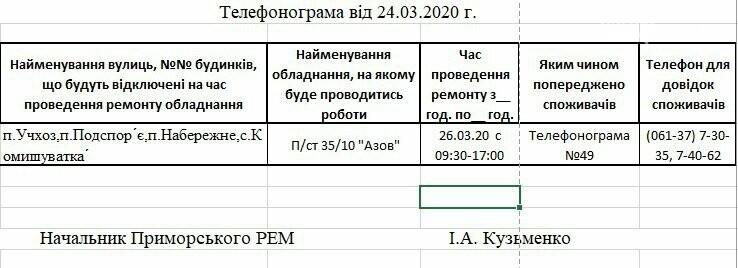 Увага! Завтра 26.03 на деяких вулицях Приморська буде відсутнє електропостачання, фото-1