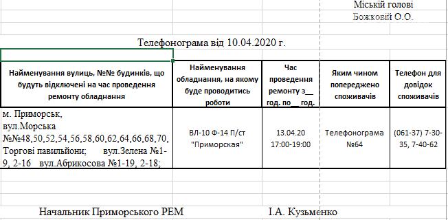 Увага! 13.04 в Приморську на деяких вулицях буде відсутне електропостачння, фото-1