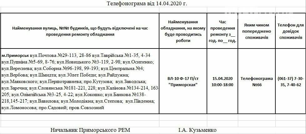 Увага!Сьогодні 15.04 на деяких вулицях Приморська буде відсутнє електропостачання, фото-1