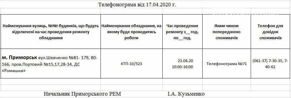 Увага, сьогодні 23.04 на деяких вулицях Приморська буде відсутнє електропостачання, фото-1