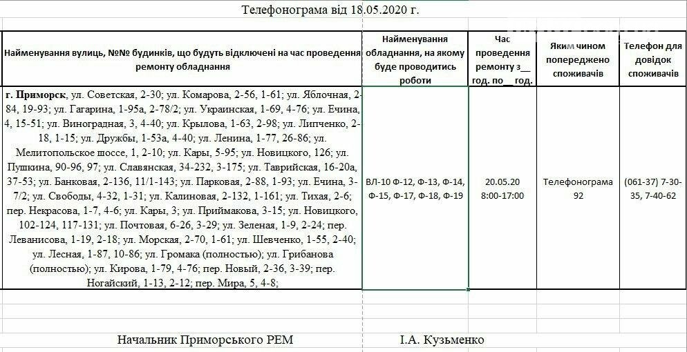 Увага, завтра 20.05. на деяких вулицях Приморська буде відсутнє електропостачання, фото-1