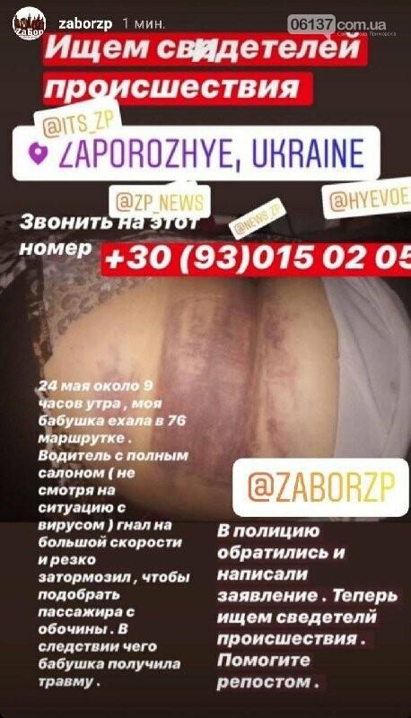 В запорожской маршрутке сильно травмировалась местная жительница. Фото, фото-1