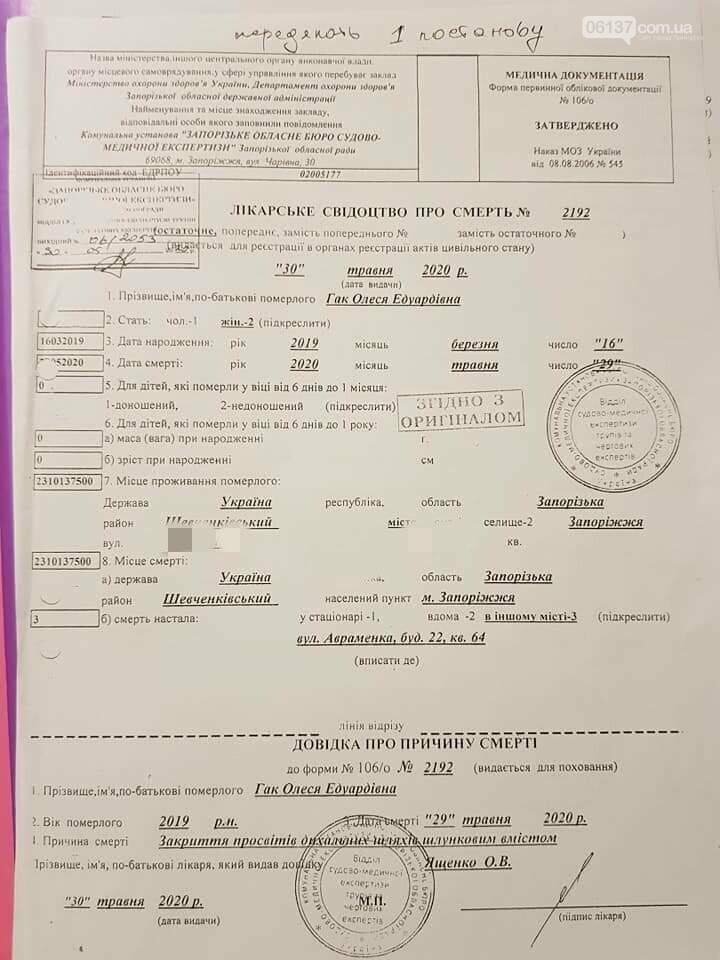 Трагедию в нелегальном детском саду в г.Запорожье признали несчастным случаем, фото-2