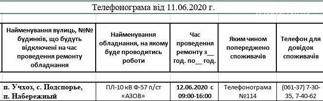 Інформація від Приморського РЕМ про відключення електропостачання, фото-1