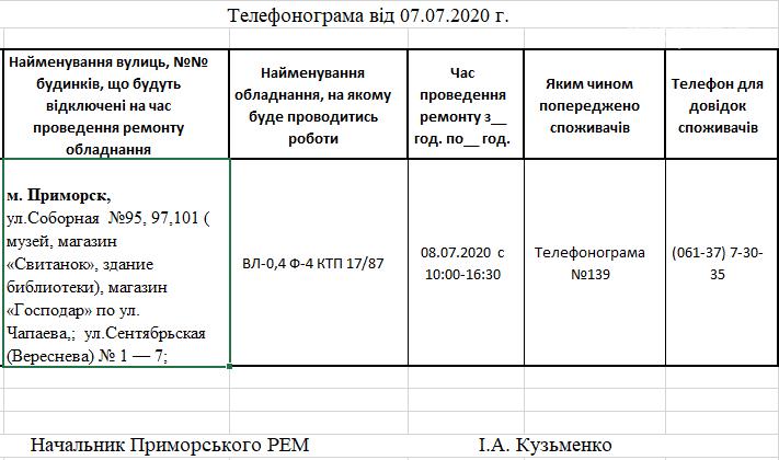 Сьогодні на деяких вулицях Приморська буде відключено електропостачання, фото-1