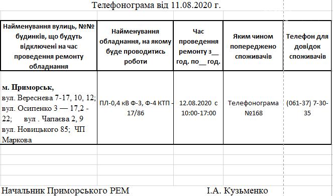 Сегодня в Приморске РЭС будет отключать электроэнергию на следующих улицах города, фото-1