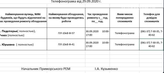 Сьогдні в деяких селах Приморського району  чергове відключення електропостачання, фото-1