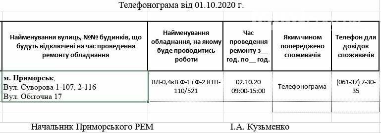 Сьогодні на деяких вулицях Приморська буде відсутнє електропостачання, фото-1