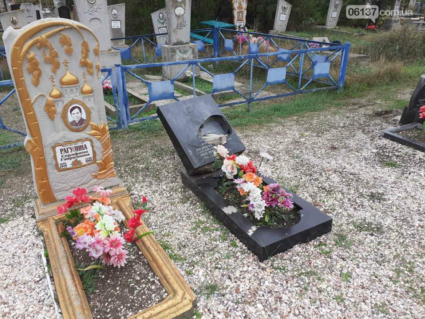 В Приморске Запорожской области вандалы разрушили могильные надгробия, фото-2
