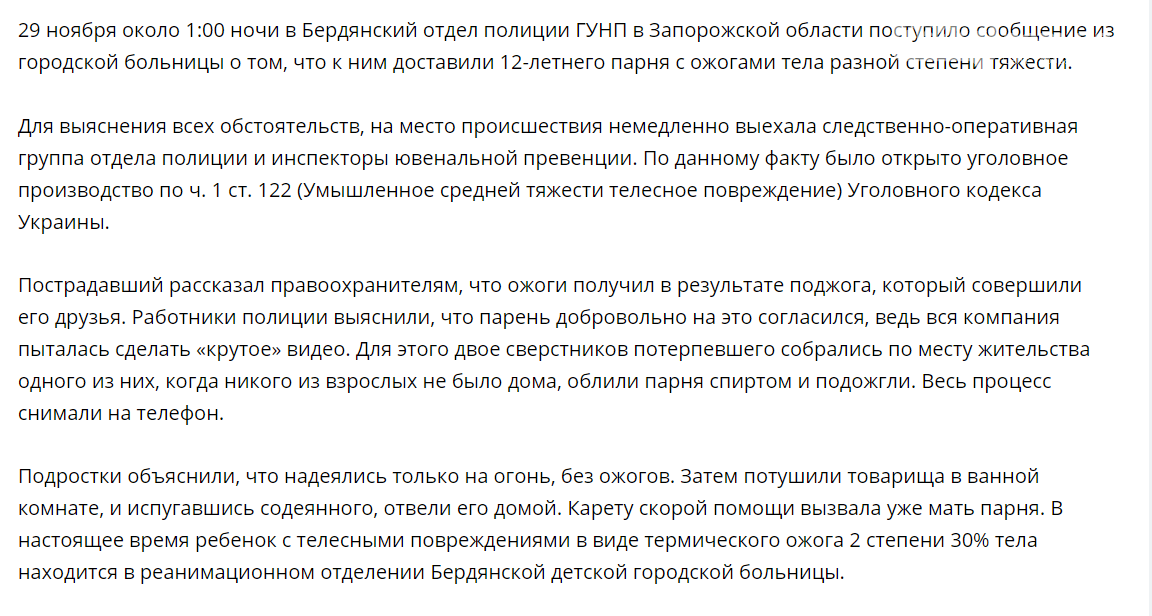 В Запорожской области правоохранители завели уголовное дело по факту поджога подростка, фото-1