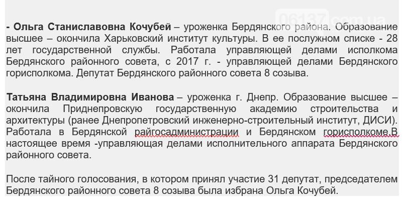 В Бердянске на первой сессии районного совета выбрали председателя, фото-1