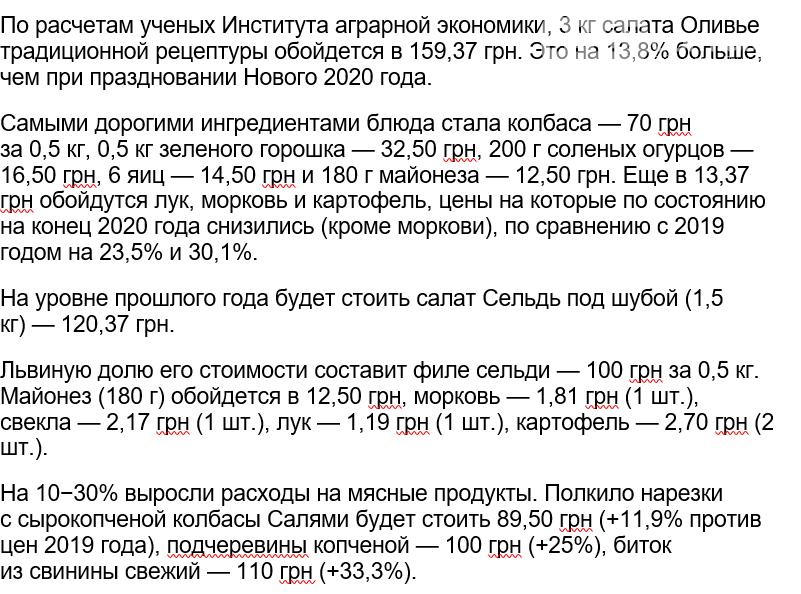 Ученые подсчитали стоимость Новогоднего застолья для жителя Запорожской области, фото-1