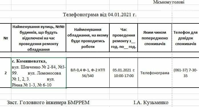 Сьогодні в с.Комишеватка Приморської ОТГ буде відключено електропостачання, фото-1