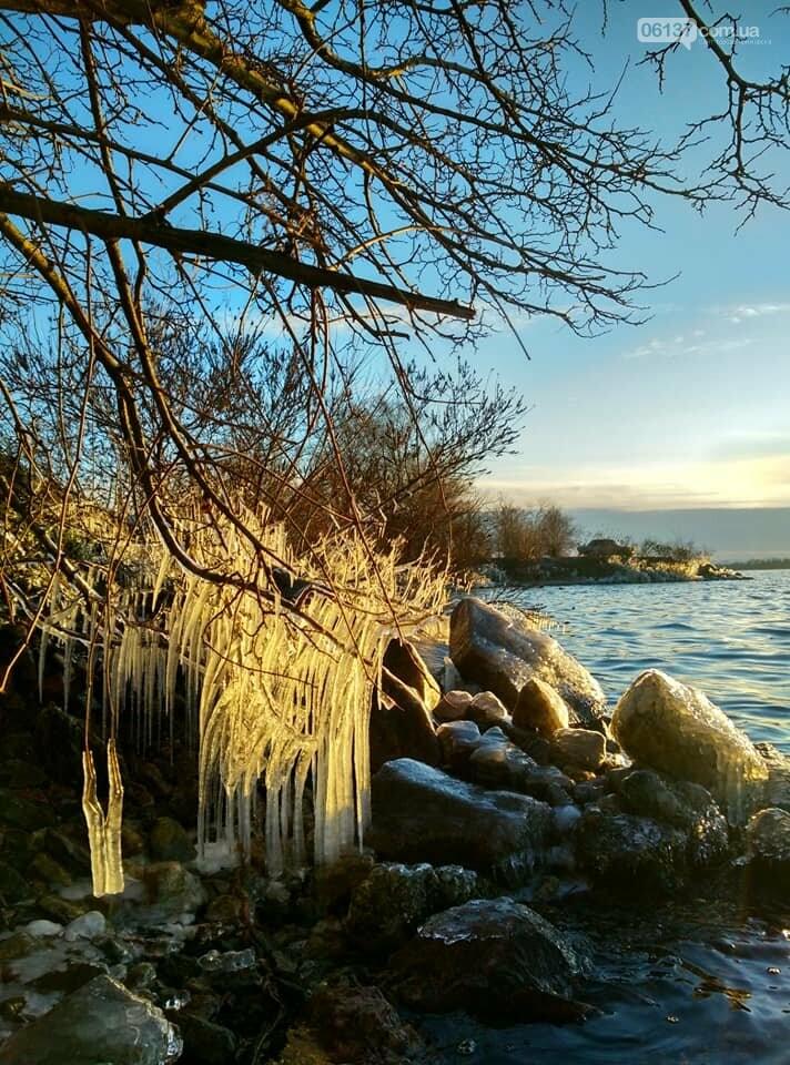 Солнце и лед: рассвет и закат на выходных в Запорожье. Фото  , фото-6