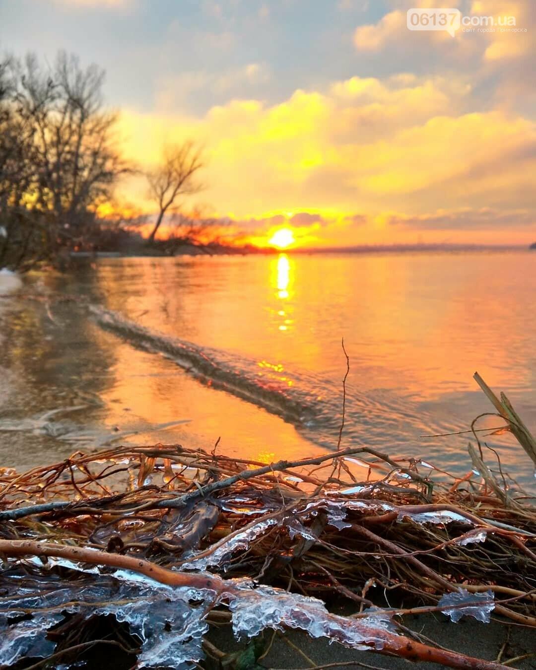 Солнце и лед: рассвет и закат на выходных в Запорожье. Фото  , фото-15