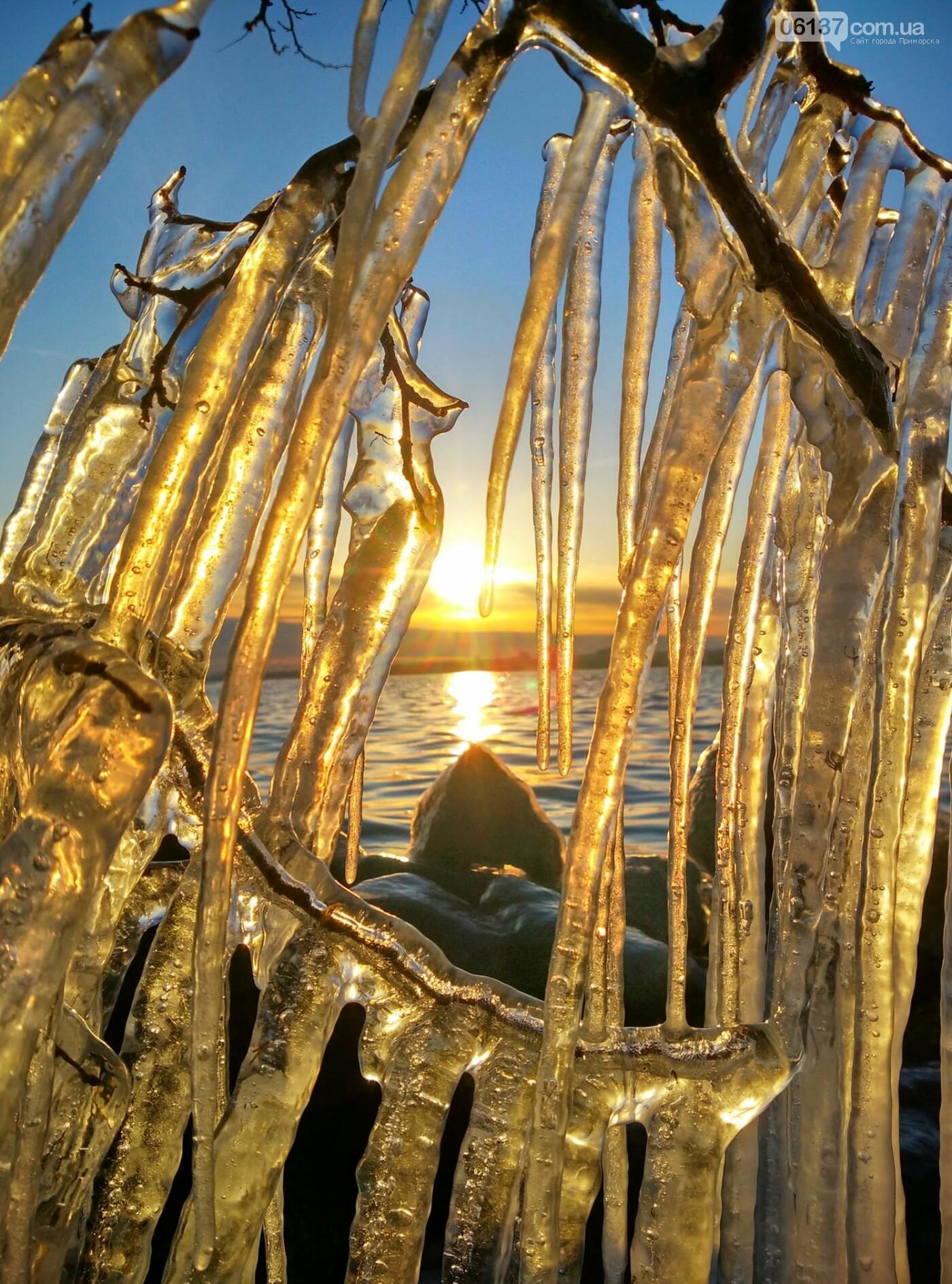Солнце и лед: рассвет и закат на выходных в Запорожье. Фото  , фото-1