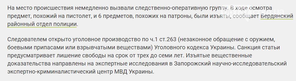 Воскресным вечером по Бердянску разгуливал выпивоха с заряженным пистолетом , фото-1