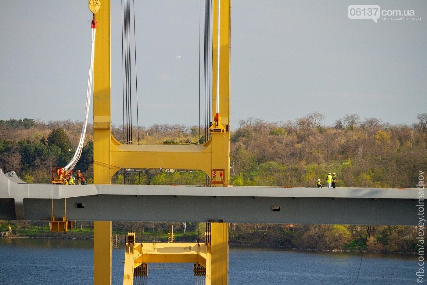 Историческое событие в Запорожье: смонтирован первый сегмент нового вантового моста. Фото, фото-1