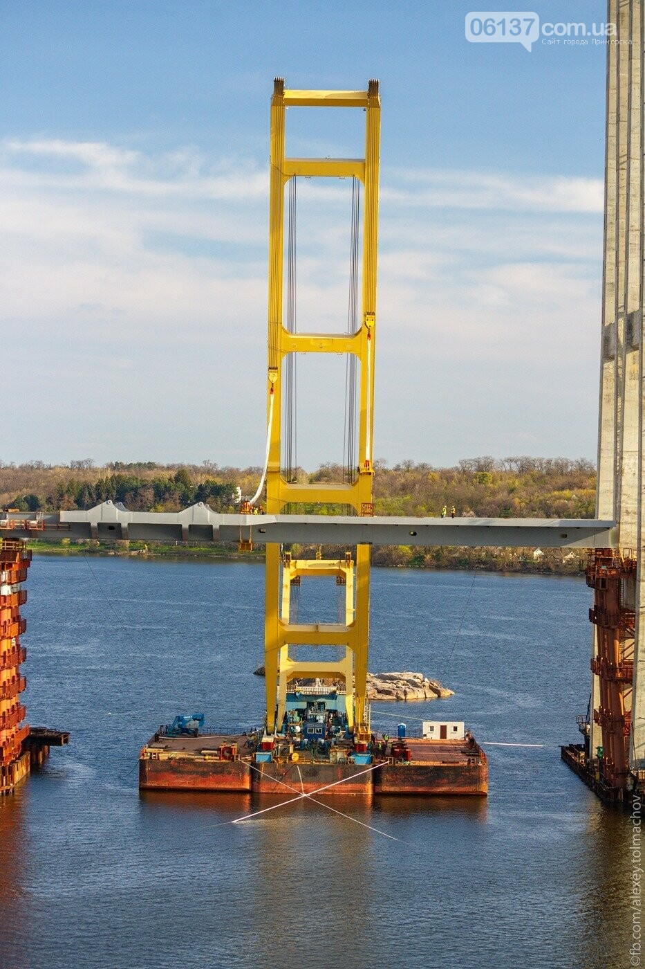 Историческое событие в Запорожье: смонтирован первый сегмент нового вантового моста. Фото, фото-10