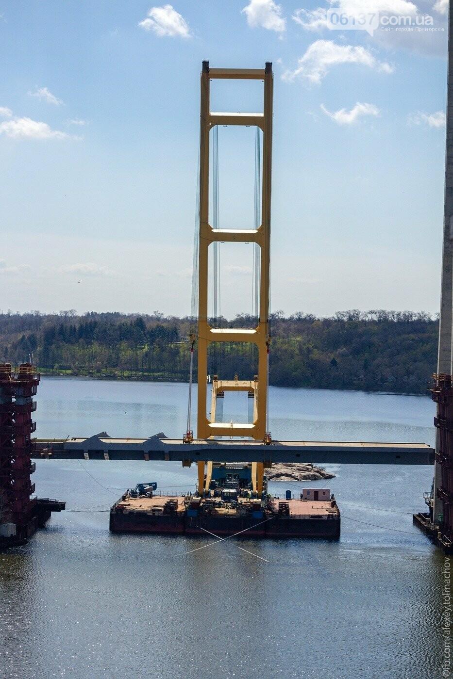 Историческое событие в Запорожье: смонтирован первый сегмент нового вантового моста. Фото, фото-15