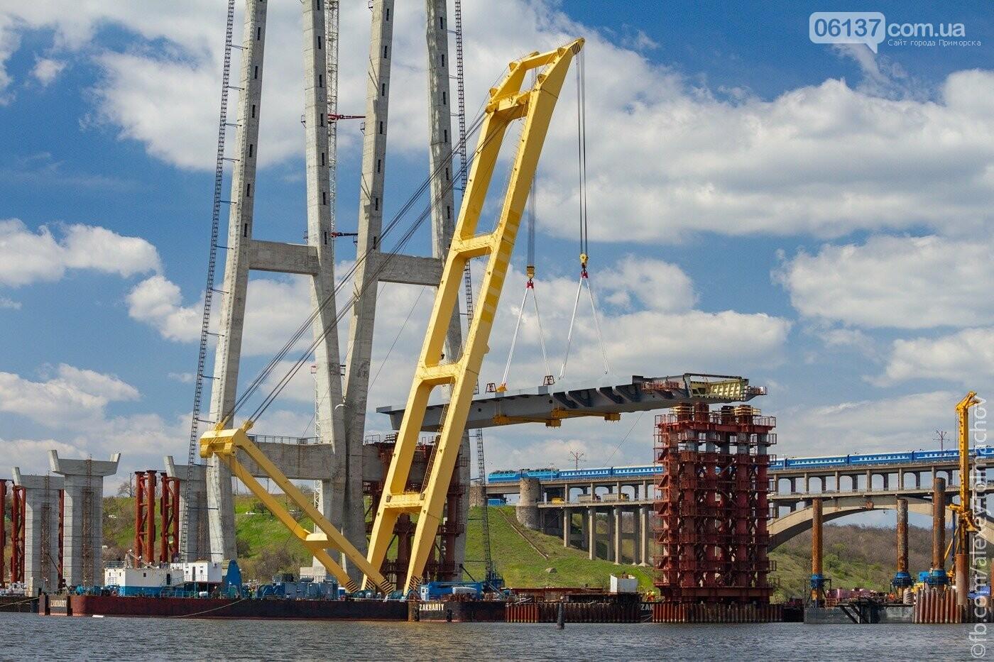 Историческое событие в Запорожье: смонтирован первый сегмент нового вантового моста. Фото, фото-13