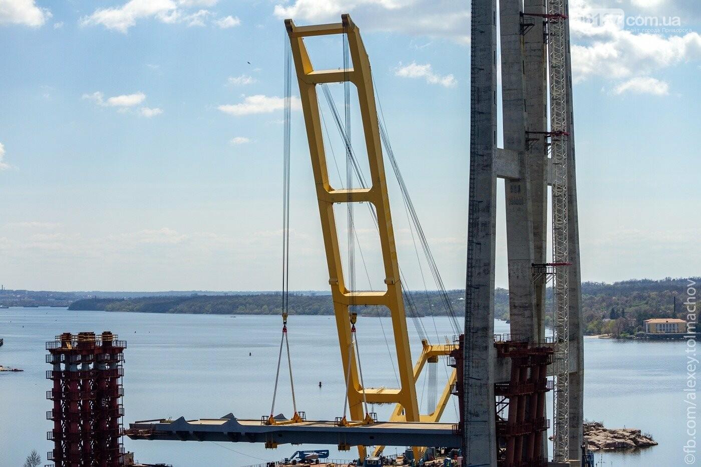 Историческое событие в Запорожье: смонтирован первый сегмент нового вантового моста. Фото, фото-23