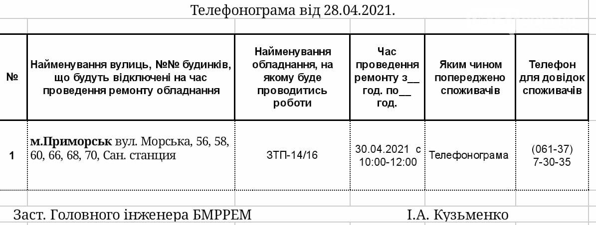Сьогодні на деяких вулицях Приморська буде відключатися електропостачання, фото-1