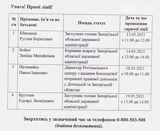 """Дата та час """"гарячих ліній"""" в травні 2021 р.  від керівників Запорізької обладміністрації , фото-1"""